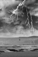 fisherman fishing in a thunder storm by morrbyte