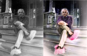 Einstein and his colourful slippers by ZeroLiver