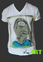 Toe Head Sprayed Tee by clayolsonart