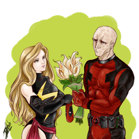 Deadpool and Ms. Marvel by Danart-comic