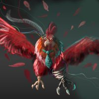 Robo Chicken With Tie by Elymnesis