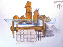 Wooden Shapes on Glass by Samidare-Jin
