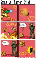 Samus vs. Master Chief by BrokenTeapot