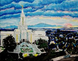 Sunset over Bountiful, Utah LDS Temple by Ridesfire