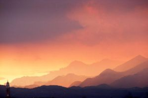 Sunset over the mountains by alone-maggie