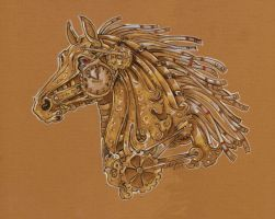Steampunk Carousel horse head study by Hbruton
