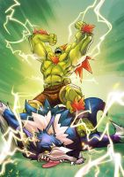 Street Fighter X Darkstalkers   Blanka X Talbain by zecarlos