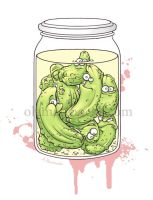cucumbers captured in a jar by aleksandracupcake