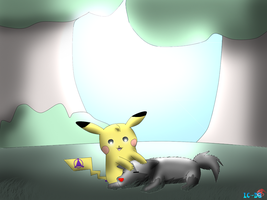 Gift : Luce-chu hanging out with Poochyecter by JackFrost-LCDA
