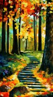 STAIRWAY IN THE OLD PARK by Leonid Afremov by Leonidafremov