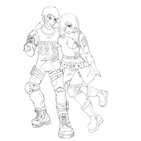 Bertha and Spectre Lineart by Roselinath