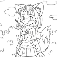 Cute Foxgirl Lineart by katchijoy