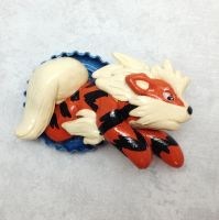 Arcanine Bottle Cap Sculpture by LeiliaClay