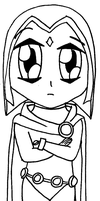 Raven-chan d Chibi - lineart by Veester