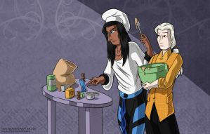 Gilou and Tal and a proto-cake by WaywardInsecticon
