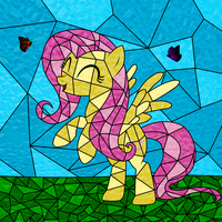Stained Glass Fluttershy by rharzar