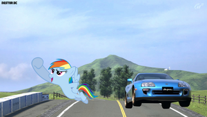 Rainbow Dash and her Supra by nestordc