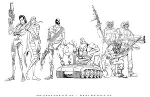 80's X-Men - The Reavers - Lineart by feeesh