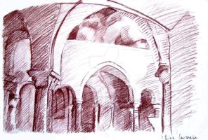 Abbey of Cava: Cloister 2 by missbeautifool