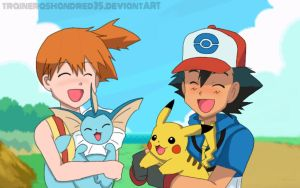 Ash and Misty Takes a Walk by TrainerAshandRed35