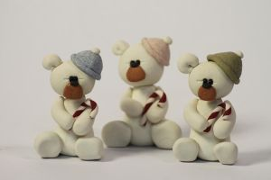 Clay Candy Cane Bear Sculptures by lizayle