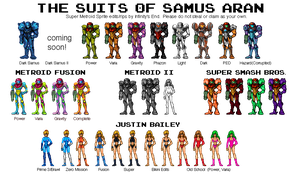 The Suits of Samus Aran by MetroidDatabase