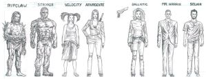 Character Designs for Cyber Force by artistjoshmills