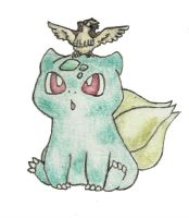Bulbasaur and Pidgey by SpookOnWheels