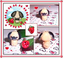 Pug and Strawberry Charms by bapity88