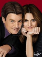 Castle and Beckett - digital drawing by verkoka