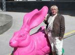 Ingeline and the pink bunny by ingeline-art