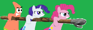 The Main Trio in angry rage and a battle ram by PinkiePieGummy101