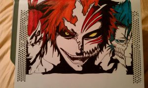 Ichigo, Renji and Grimmjow by JessieTheArtist