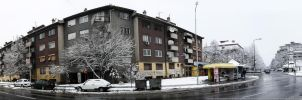 Kraljevo Pampula snow panorama by Mavko