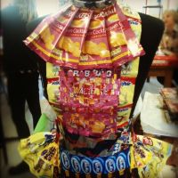 A dress based on sweets and advertising by GemmaRoseSmith