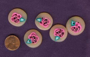 Pink Rose Buttons by Glori305