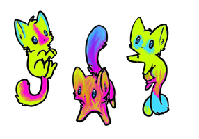 NEON kitty adoptables :3 only ONE LEFT by KylievonDreb99