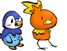 DrawPLZ Piplup and Torchic by Magdaleen-96