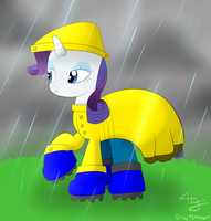 (Comission) Rarity With Raingear by GrayTyphoon