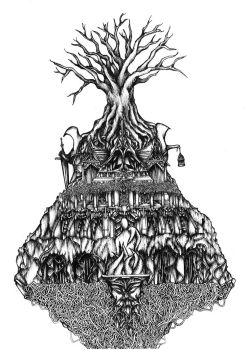 Temple to the Old Ones. A4 Ink Drawing by shenj010