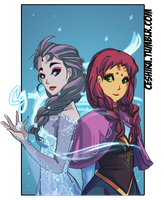 Frozen Titans- Raven and Starfire by Ceshira