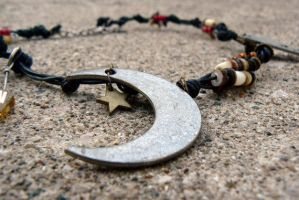 Lady Moon and Sister Stars-Leather Necklace by deathbysunset