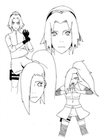 Ino and Sakura Lines by RandomeDragon