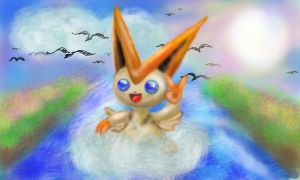 Victini am Meer by Eaglefriend