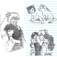 InuKag Notes Doodles by NattiKay
