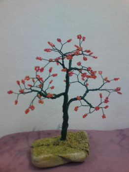 Wired tree with red beads by Fenia-Xeiropoihmata