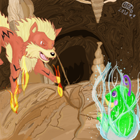 Arcanine Vs Politoed by Tails02574