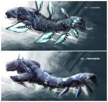 freaky lobster like ships by krassnoludek