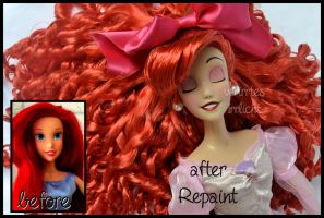 repainted ooak sleeping ariel singing doll. by verirrtesIrrlicht