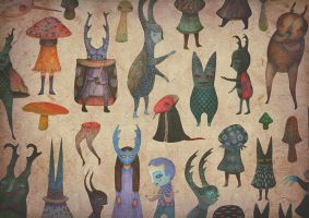''The Cursed Forest'' characters \ paper dolls by V-L-A-D-I-M-I-R